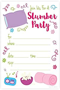Amazoncom Slumber Party Sleep Over Invitations Fill In Style 20