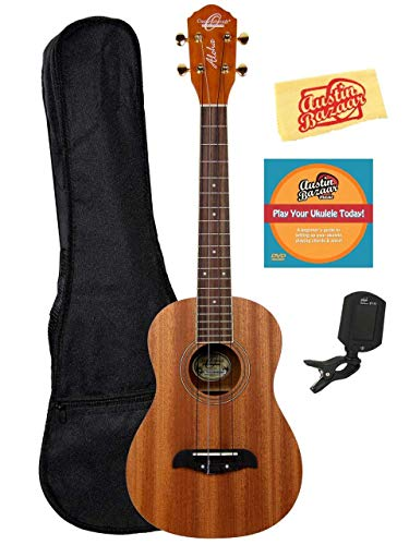 Oscar Schmidt OU2T Mahogany Tenor Ukulele Bundle with Gig Bag, Tuner, Austin Bazaar Instructional DVD, and Polishing Cloth, Bundle w/ Gig Bag