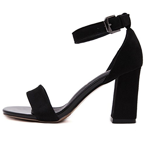 COOLCEPT Zapatos Mujer Verano Single Band Chunky Heel Sandalias With Al Tobillo Negro