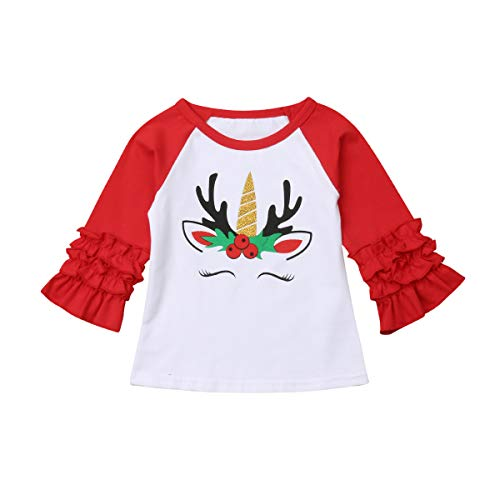 (Baby Kids Girls Christmas Print Long Sleeve Ruffle Polka Dot Cotton T-Shirt Tops Clothes (Fors03-red, 4-5 Years Old))