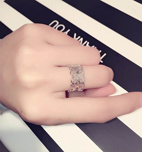 Generic The new Korean fashion style popular in Europe and America delicate silver rings hollow ring women girls lady flowers temperament