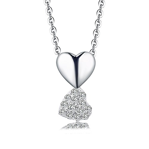 YL 14K White Gold Double Diamond Double Heart Pendant Necklace (0.07Carat, H-I Color SI Clarity),18+2