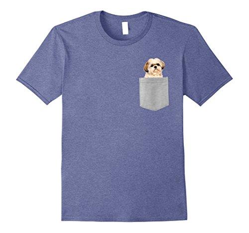 Mens Dog in Your Pocket Shih Tzu t shirt tee shirt XL Heather Blue