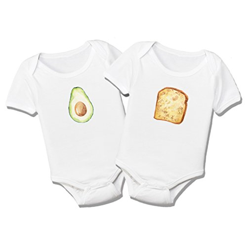 Onesie Food (Avocado Toast Organic Cotton Baby Bodysuit Set (0-3M))
