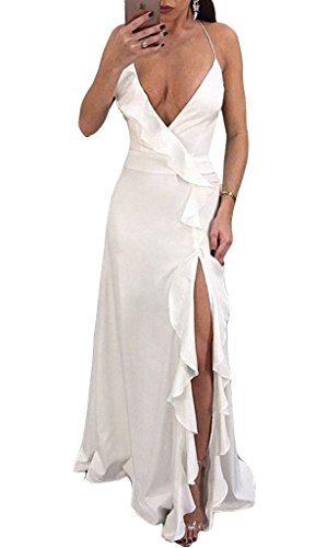 Cross Back Long Gown Dress - Cutedi Womens Sexy Spaghetti Strap Sleeveless V Neck Criss Cross Backless Side Split Long Maxi Dress Evening Gown White L