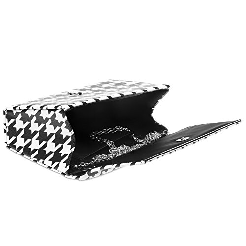 Black White and White Evening Retro Houndstooth CASPAR Design Bag 50ies Ladies TA425 Clutch with Elegant Black 6xwvORq