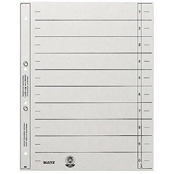 200 Trennblätter 1654 grau Lochung mit Metallösen Register Trennpappen