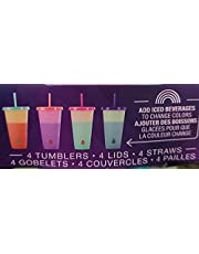 12 Piece eco Friendly Reusable Color Changing tumblers, Includes Straws and lids. Bpa Free