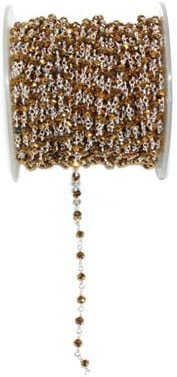 Cadena de cuentas de pirita amarilla de 3 mm, cadena de rosario con cuentas de piedra semipreciosa, cadena de 3 mm chapada en plata de pirita amarilla