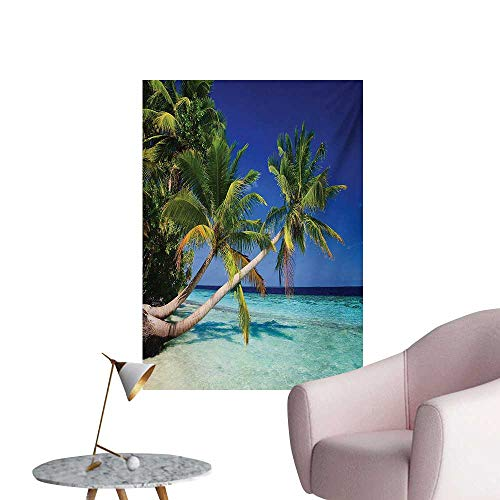 Anzhutwelve Ocean Wallpaper Maldives Bay Paradise Resort Summer in Pacific Holiday DestinationsNavy Blue Turquoise Green W24 xL32 Space Poster