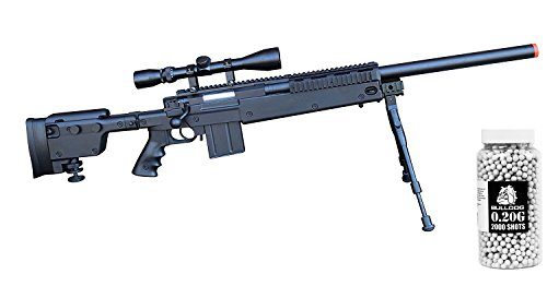Airsoft Spring Sniper Rifle [Well MB4406] Scope - Bipod [450 FPS – 164' Range] .20g Bulldog 2000 Pellets [Speed Loader ] (2000 Top Loaders)