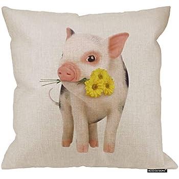 HGOD DESIGNS Cotton Linen Square Decorative Throw Pillow Case Cushion Cover Cute Pink Pet Miniature Pig Yellow Daisy 18