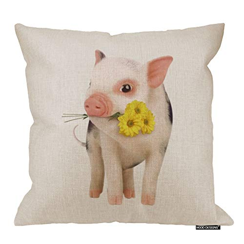 HGOD DESIGNS Cotton Linen Square Decorative Throw Pillow Case Cushion Cover Cute Pink Pet Miniature Pig Yellow Daisy 18