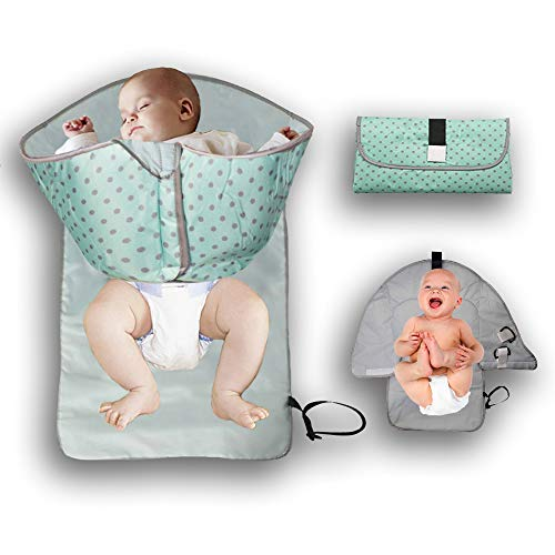 3-in-1 Portable Baby Clean Hands Changing Pad, Travel Pad Diaper Clutch, Diaper-Time Play mat with Redirection Barrier, Perfect for Infant Toddler Newborn Boys & Girls, Waterproof and Lightweight