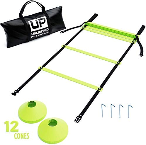 Unlimited Potential Soccer Ladders – Speed Ladder – Exercise Ladder – Training Agility Equipment and Anchors -Free Carrying Bag – Agility Equipment Yellow, 15 feet