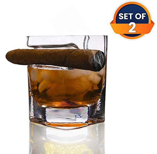 VENERA Whiskey Glass Old Fashioned Glasses Built in Side Mounted Cigar Rest Top-Quality Twist Style Liquor Glass for Scotch or Bourbon - Set of 2