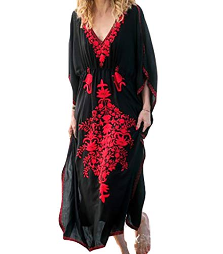 MeiLing Women's Bohemian Embroidered Dress Long Caftan Ethnic Print Kaftan Loungewear Swimsuit Beach Cover up Swimwear (Black A)