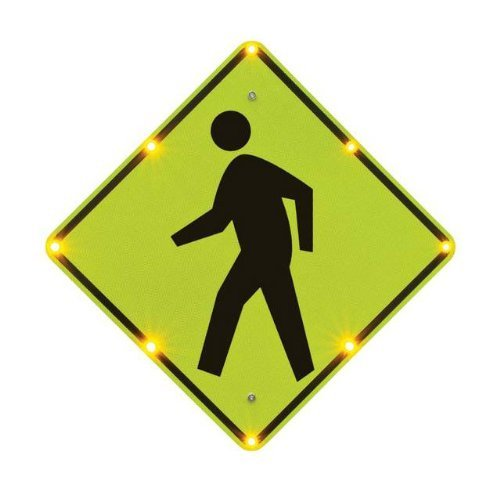 Tapco W11-2 BlinkerSign Diamond Pedestrian Crossing Sign with 8 Fluorescent Yellow Green Flashing LEDs, 110 VAC, 30'' Width x 30'' Height