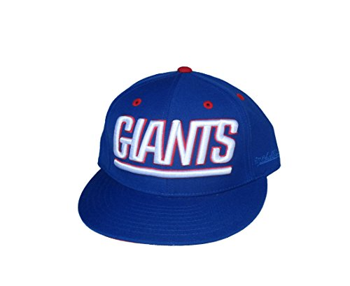 Mitchell & Ness New York Giants Fitted Size 7 1/8 NFL Authentic Embroidered Wordmark Hat Cap - Royal Blue