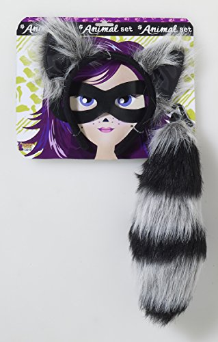 [Womens Raccoon Costume Kit Ears Tail Eye Mask Adult Halloween] (Raccoon Girl Costumes)