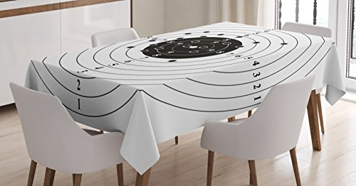 Ambesonne Black and White Tablecloth by, Target Numbers and Bullet Holes Shooting Polygon Gun Training Illustration, Dining Room Kitchen Rectangular Table Cover, 60 W X 84 L Inches, Charcoal Grey