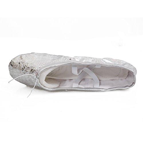 Gymnastik Yoga Canvas Läder Balett Dans Skor Barn Och Vuxna Storlekar Siver Dot