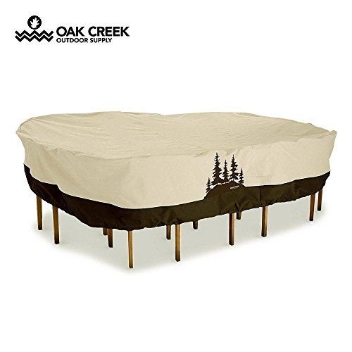 Oak Creek Premium Outdoor Furniture Cover | Patio Table Cover with Air Vents, Click-Close Straps, Elastic Hem Cord | Made of Heavy Duty Waterproof Fabric with PVC Coating | Pine Tree Design (Tree Tan Oak)