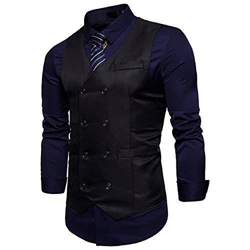Breasted Mens Double Tuxedo (WULFUL Men's Dress Vest Slim Fit Double Breasted Tuxedo Suit Waistcoat)