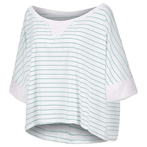 Witspace Women Plus Size Stripe Three Quarter Sleeve Off Shoulder Pullover Tops Shirt
