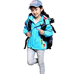 Girls Jackets Casual Outdoor Athlectic Kids Coat Proofwind Proofwater 9-10Years Blue