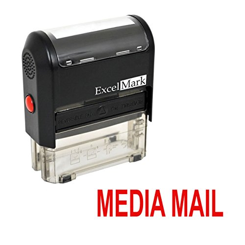 MEDIA MAIL Self Inking Rubber Stamp - Red Ink