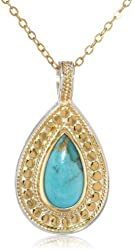 "Anna Beck Designs ""Gili Green Amethyst"" 18k Gold-Plated Green Amethyst and Moonstone Teardrop Pendant Necklace, 18"""