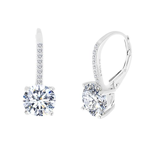 Sterling Silver Round Cubic Zirconia Drop Leverback Fancy Bridal Earring (White) Bridal Party Gift