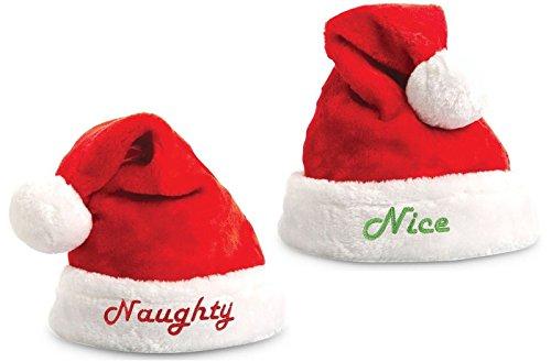 KOVOT Nice & Naughty Embroidered Santa Hat Set - 2 Hats Included (Naughty & Nice Costumes)
