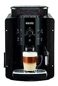 Krups Roma EA8108 - Cafetera automática, 15 bares de presión, molinillo de café cónico de metal, función automática de vapor, 1450 W, depósito de 1.7 L, acero inoxidable, negro