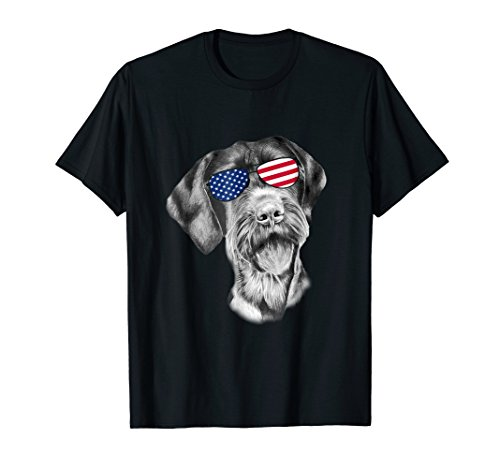 Patriotic German Wirehaired Pointer Dog Merica T-Shirt 4th