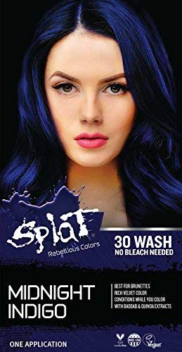 Splat 30 Wash No Bleach Formula (Midnight Indigo) (Midnight Blue Hair Dye On Black Hair)