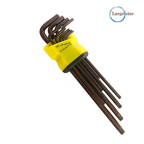 Torx Hex Key Wrench Set, Long Arm Tamper Proof Star Screwdriver Torque Repair Tool Set with Organizer Case, L-Shape T10 T15 T20 T25 T27 T30 T40 T45 T50, Made from Chrome Vanadium Steel 9 PCS