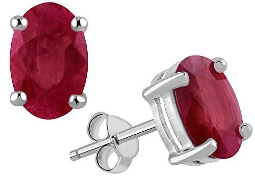 Diane Lo'ren 2.25ctw Genuine Gemstone Oval Stud Earrings 925 Sterling Silver for Women (ruby)