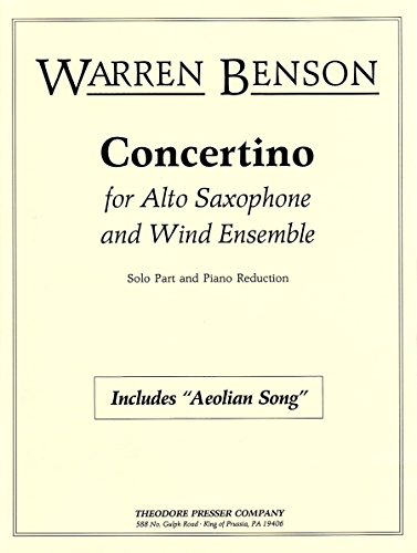 Concertino for Alto Saxophone and Wind Ensemble (Solo Part and Piano Reduction)