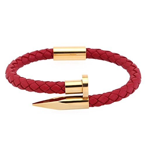 LOLOJ Braided Red Leather Bracelet Stainless Steel Nail Charm Love Cuff Wristband Bangle 7