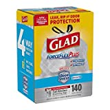 Glad ForceFlexPlus Tall Kitchen Drawstring Trash Bags, Unscented, 13 Gallon (140 Count ) x2 AS