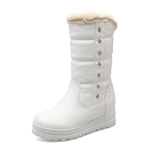 WeenFashion Women's Kitten-Heels Solid Round Closed Toe Soft Material Pull-on Boots with Rivet, White, 40 by WeenFashion