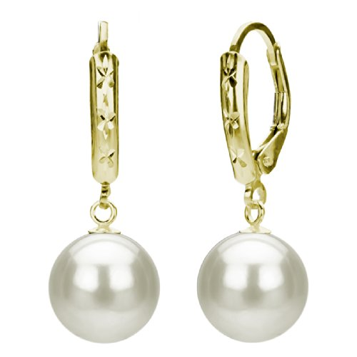 Cultured Freshwater White Pearl Earrings 14K Yellow Gold Leverback Bridal Jewelry 9-9.5mm