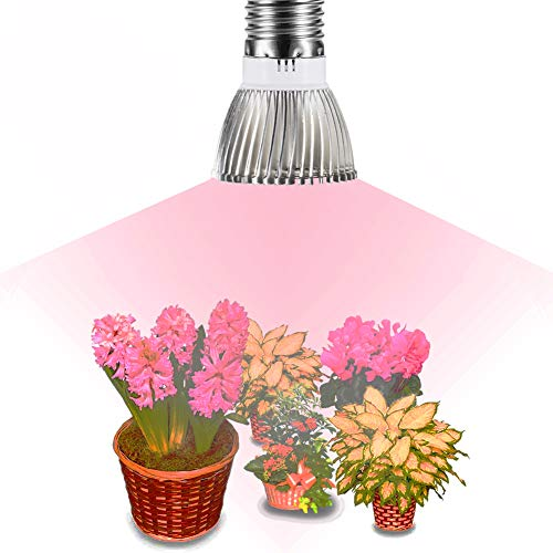 Gianor Full Spectrum Led Grow Light Bulb, E27 Base, 28pcs SMD 5730 Chips, 15Red +7Blue+1IR+1UV+2White Light, AC 85~265V,for Indoor Plants Garden Greenhouse Hydroponic System Lighting(18w)