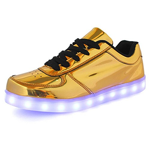KaLeido Unisex Fashion 7 Colors LED Luminous Shoes USB Charging Shoes Flashing Sneakers Light Up Sport Shoes (15 B(M) US Women/11 D(M) US Men, Gold)