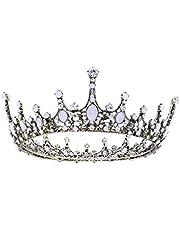 Lurrose Bruiloft Tiara Kroon Prinses Vintage Bloem Bruids Koningin Strass Hoofdband Tiara Kroon Sieraden voor Bruidsmeisje Wit