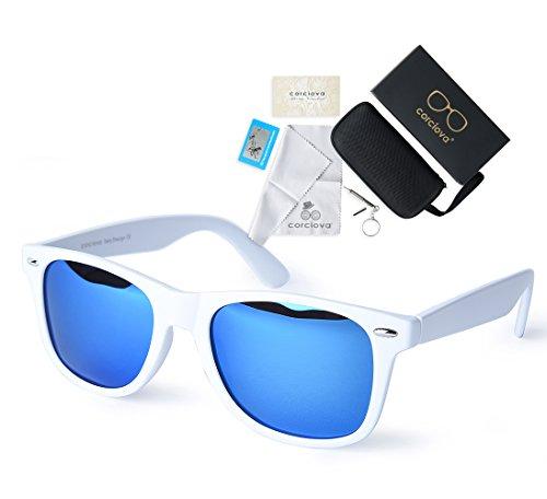 2fddef7c47 corciova Reflective Revo Large Horn Rimmed Style Uv400 Wayfarer Sunglasses  Matte White Frame Blue Mirror Lens