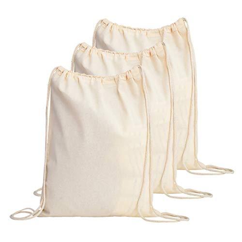 TBF Cotton Drawstring Backpack String Gym Sack Bag Canvas Cinch Sack Sport Cinch Pack Backpack Rucksack for Men, Women, Kid, School, Travel (Natural, Set of - Back Sack Drawstring Canvas