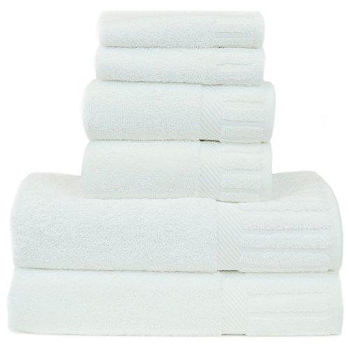 Luxury Hotel & Spa Towel Turkish Cotton Six Piece Towel Set - White - Piano